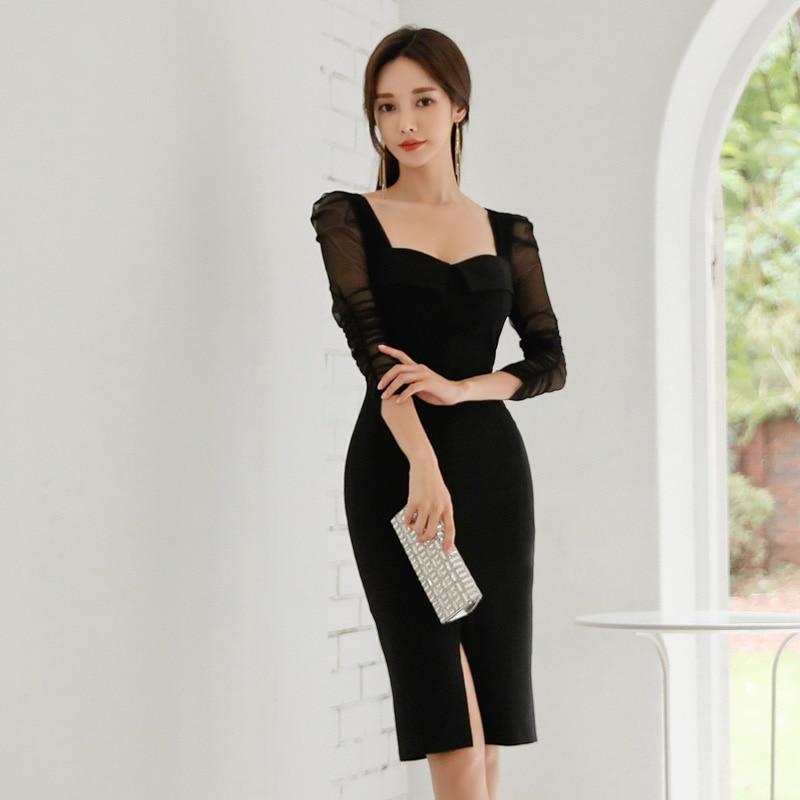 BGTEEVER Elegant Black Square Collar Sheath Women Dress Front-split Half Sleeve Female Dress Pencil Bodycon Vestidos Femme 19 2
