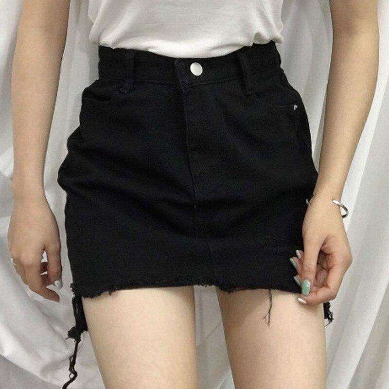 Sexy Women's Skirt Casual Korean Skirts Womens Summer Hole New Mini Skirt Women Fashion Skirts 19 White Black Denim Skirt 3