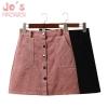 Spring Harajuku Office Lady School Women's Short Skirt Denim Style Button A-line Corduroy High Waist Pocket Mini Skirt