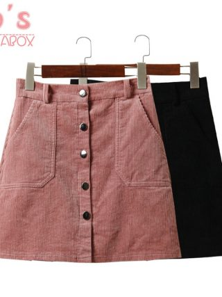 Spring Harajuku Office Lady School Women's Short Skirt Denim Style Button A-line Corduroy High Waist Pocket Mini Skirt