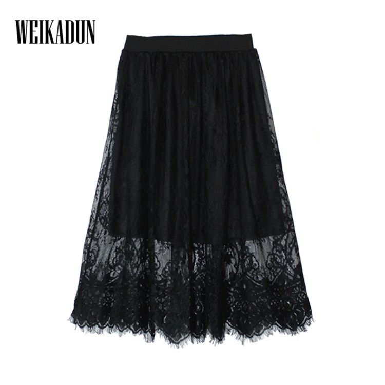 Spring Summer Women Skirt Sexy Lace Mesh Hollow Out Slim Bodycon Tight Pencil Elegant Transparent Black White Skirt D006