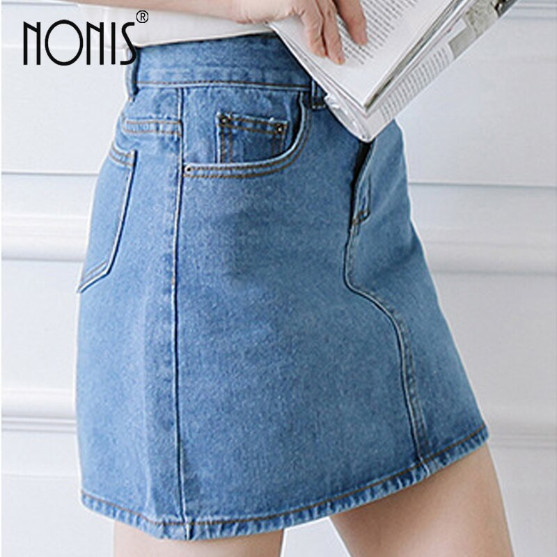 Nonis Basic A-line Retro Academy style Denim Jeans Skirts For Women Spring Summer slim figures New Plus Size femme Skirts 2