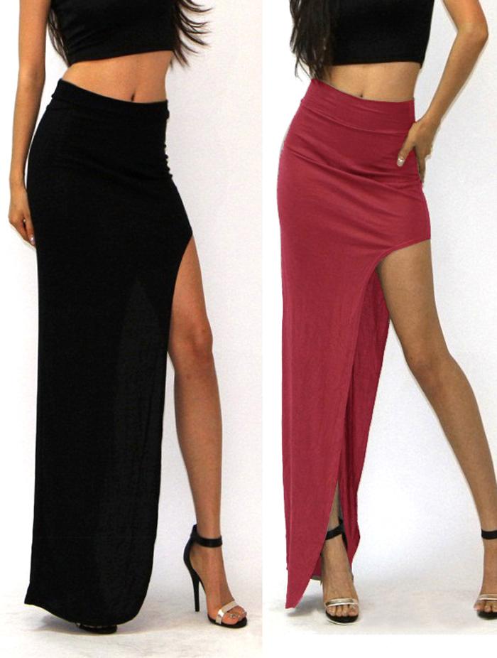 15 New Fashion summer style Skirt Sexy Women Long Skirts Lady Open Side Split Skirt Long Maxi Skirt Khaki/Black Free Size 2