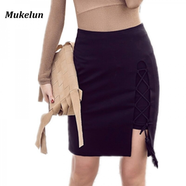 Sexy Lace Up Cross Pencil Skirt Women Elegant Hollow Out Short Skirt Spring Summer 19 Casual Split Bodycon Black Mini Skirt