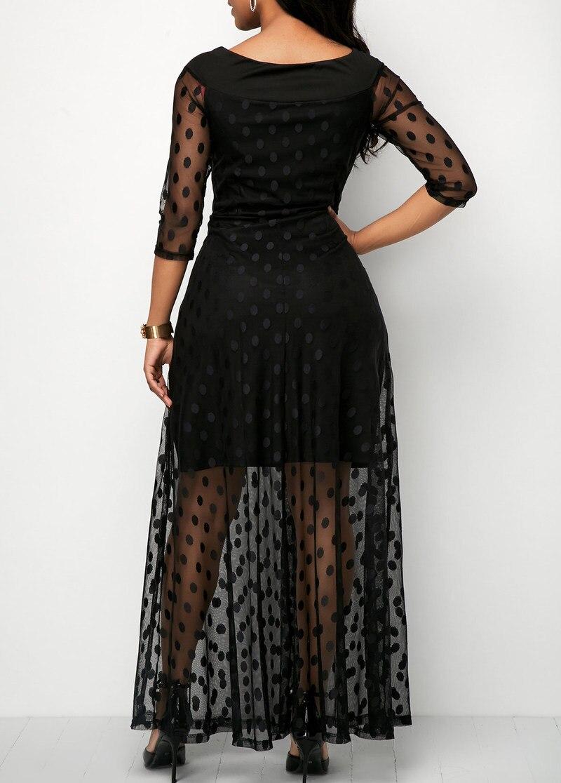 19 Women Elegant Dot Design Mesh Lace Maxi Dress Female Slim Fit Sexy Half Sleeve Casual Long Dresses Streetwear 3