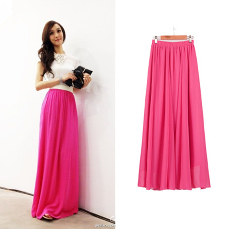 Women Chiffon long skirt Candy Color Pleated Women Skirts 18 Summer Skirts in floor 100cm length 19Colors long saia 1