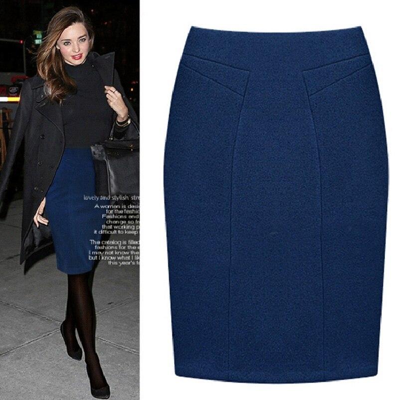 Plus Size Female Knee Length Slim Midi Skirt 19 Autumn And Winter Fashion High Waist Woolen Women Casual Pencil Skirts 2