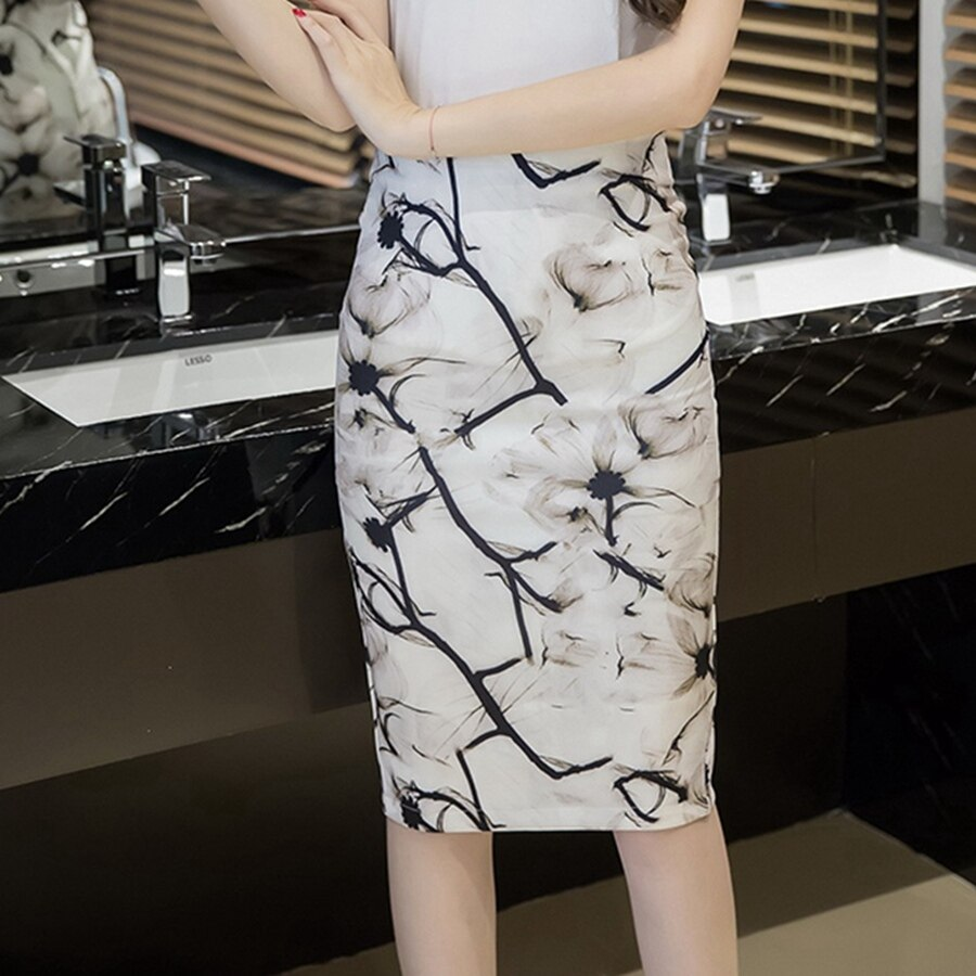 S-3XL Women Sexy Work Skirts Fashion Mid Calf Long Skirt Bodycon Elegant Open Split Stretch Office OL Print Pencil Skirt 2
