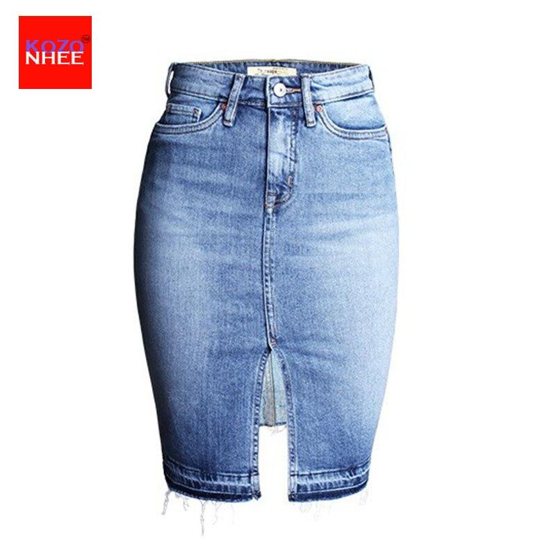 Fashion Denim Skirts Womens 17 Front Slit Summer Jeans Skirt Midi High Waist Women Skirt 2