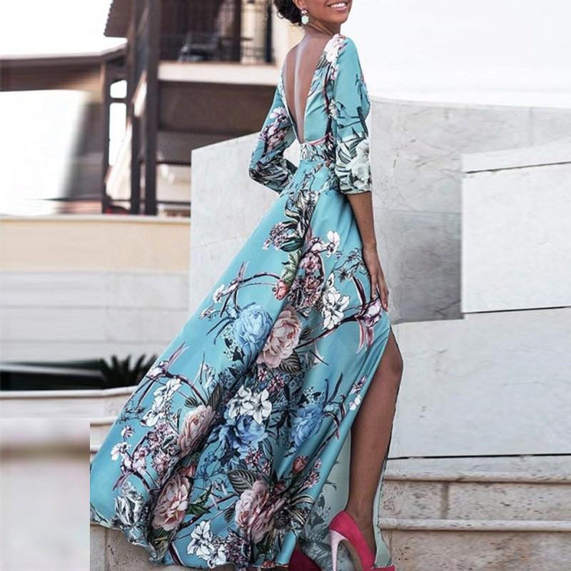 Women Boho Half Sleeve Backless Floral Dress Sexy Maxi Long Dress Party Beach Dress 3
