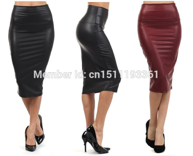 free shipping women office skirt high-waist faux leather pencil skirt black sexy elastic below knee skirt 10 colors XS/S/M/L/XL 1
