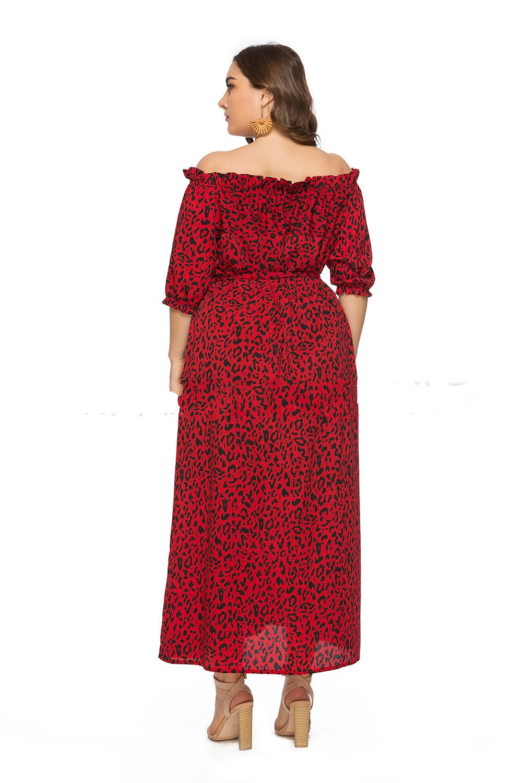 XL-6XL Plus Size Dress Women Long Beach Dress Fashion Slash Neck Half Sleeve Maxi Dresses Leopard Print Autumn Summer Vestidos 3