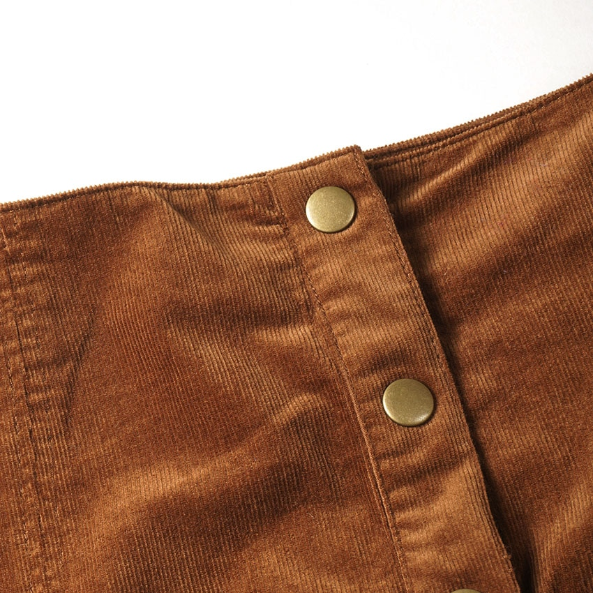 19 Autumn New Arrival Women Fashion Casual Single Breasted Corduroy Skirts, Female Quality Vintage High Waist Slim Mini Skirts 2