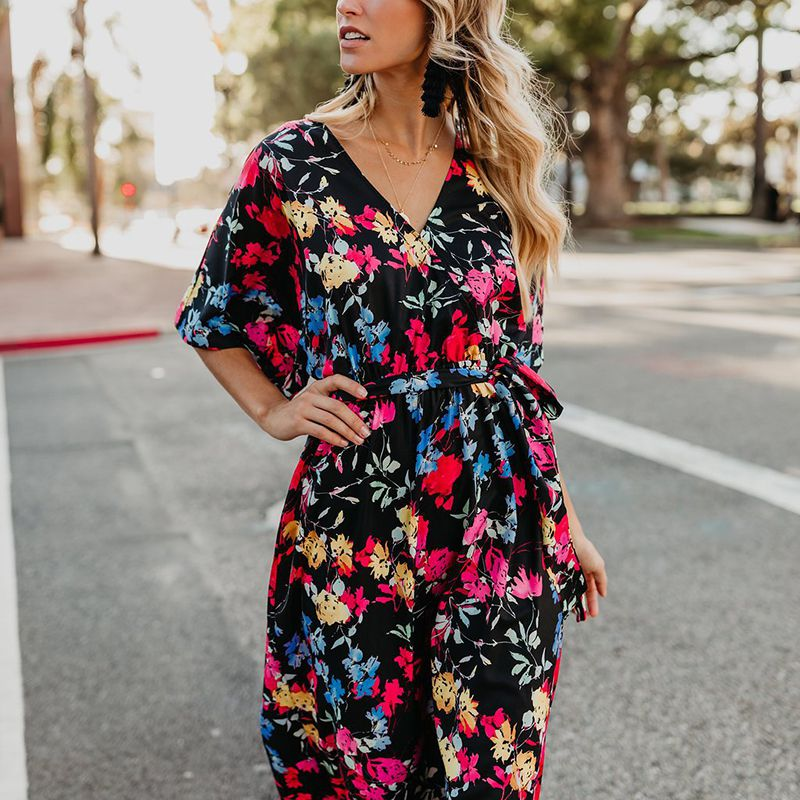 B Summer Dress Women Cotton Sexy V-Neck Half Sleeve Floral Print Dress Plus Size Lace Up Vacation Beach Ankle-Length Dress 3