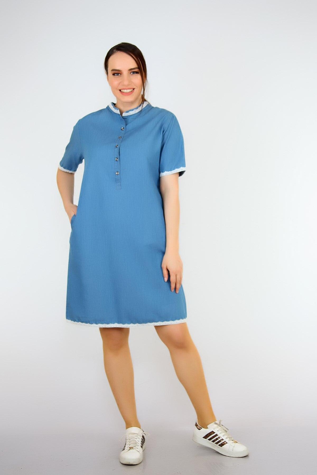 Pianoluce Women 'S Denim Lace Detail Half Sleeve Dress Blue 1387 1