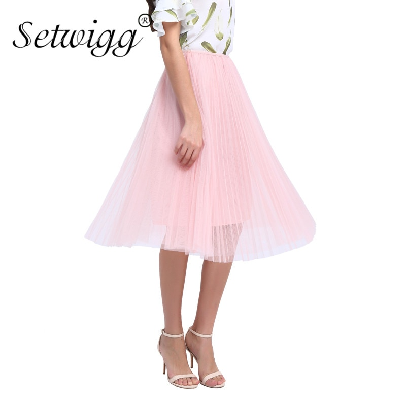 SETWIGG Sweet Pink Layered Tulle A-line Long Pleated Spring Skirts Elastic Waist Puffy Mid-calf Skirts Summer SG5101 2