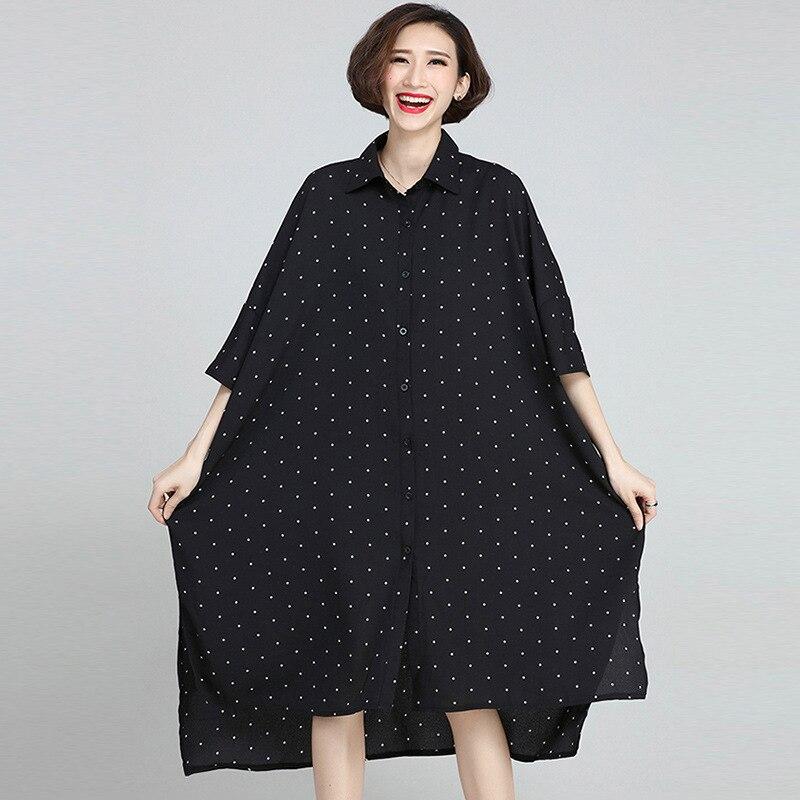 Johnature 19 Summer Plus Size Korean Wave Point Dresses Women New Turn-down Collar Half Sleeve Irregular Casual Dress 1
