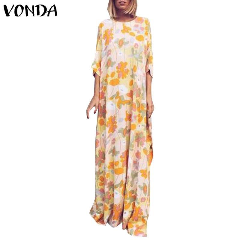Maxi Printed Dress VONDA Bohemian Sexy O Neck Half Sleeve Long Dresses Casual Loose Spring Summer Vintage Party Vestidos 5XL 2