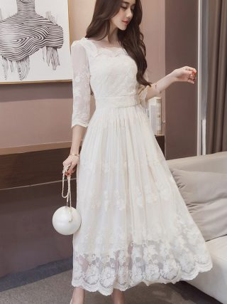 Summer Vintage Floral Print Long Dress O-Neck Casual Pleated Half Sleeve Lace Dress Women Party White Dress