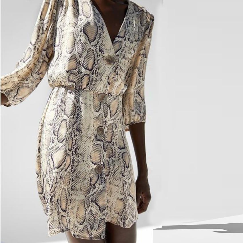 New High Street Women A-line Dresses Snakeskin Printed Half Sleeve Button Dress 3