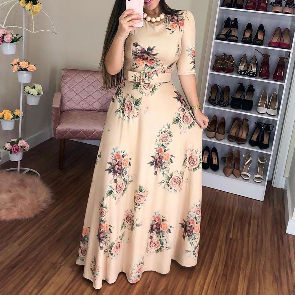 Women Summer Dress 19 Casual half Sleeve Long Dress Boho Floral Print Maxi Dress Elegant Dresses Belt High Waist Long Dresses 2