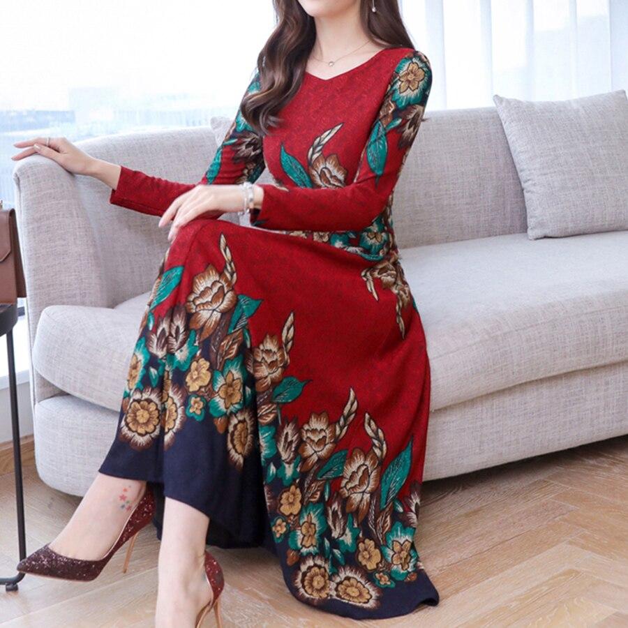 19 autumn new fashion long sleeve temperament slim long dress women casual plus size elegant dresses 3