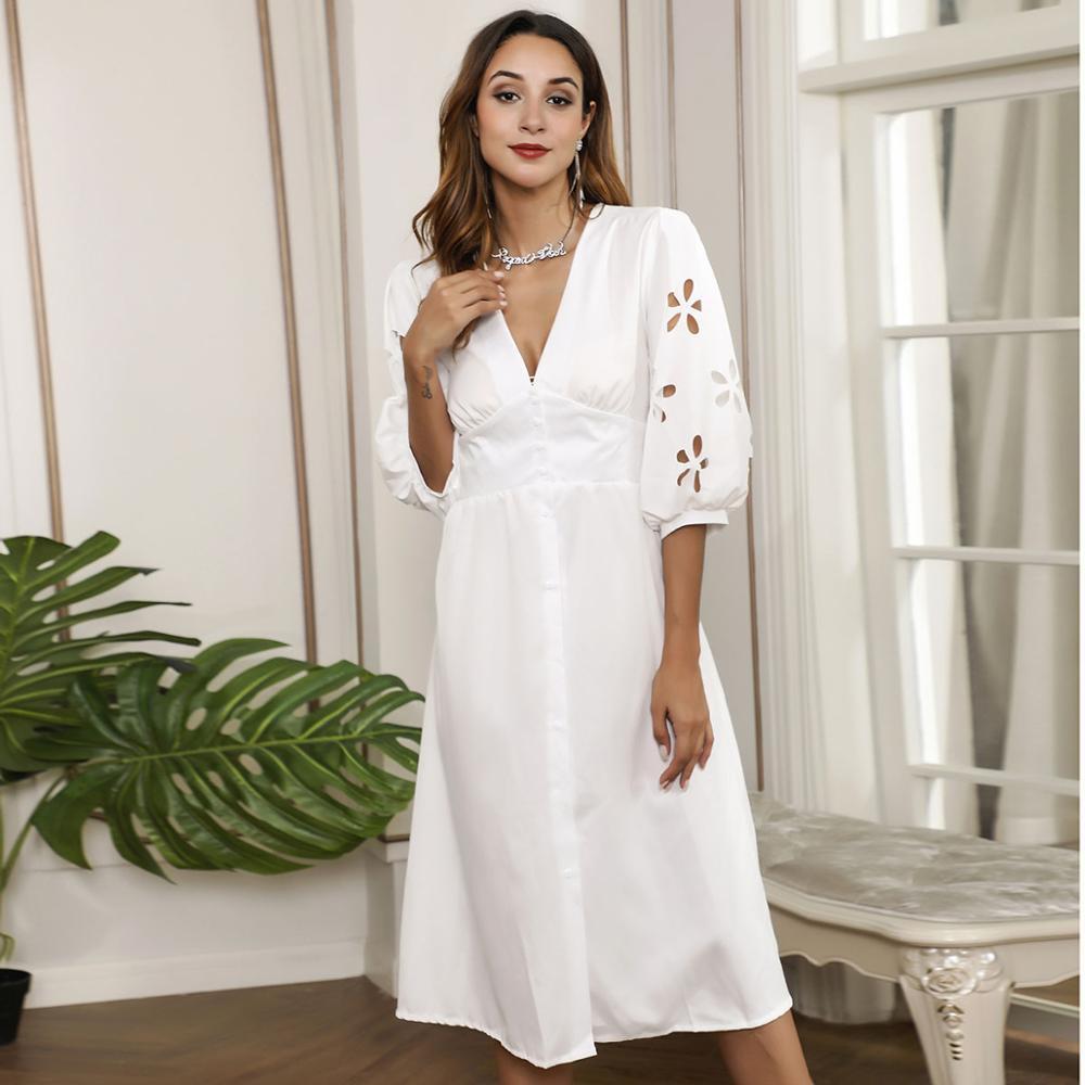HELIAR Floral Hollow Out Sleeve V-Neck Dress Buttons Half Sleeve White Dress Women Autumn Elegant A-Line Dress For Women Clothes 2