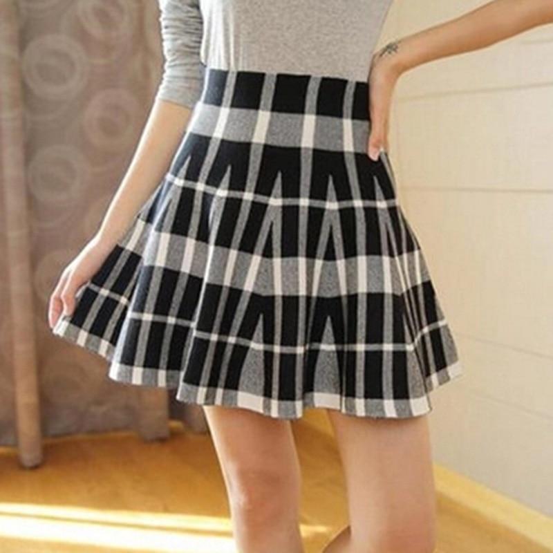 Spring Skirts Women's 18 Autumn New Design Fashion High Waist Short Mini Pleated Wool Plaid Women's Skirts 3