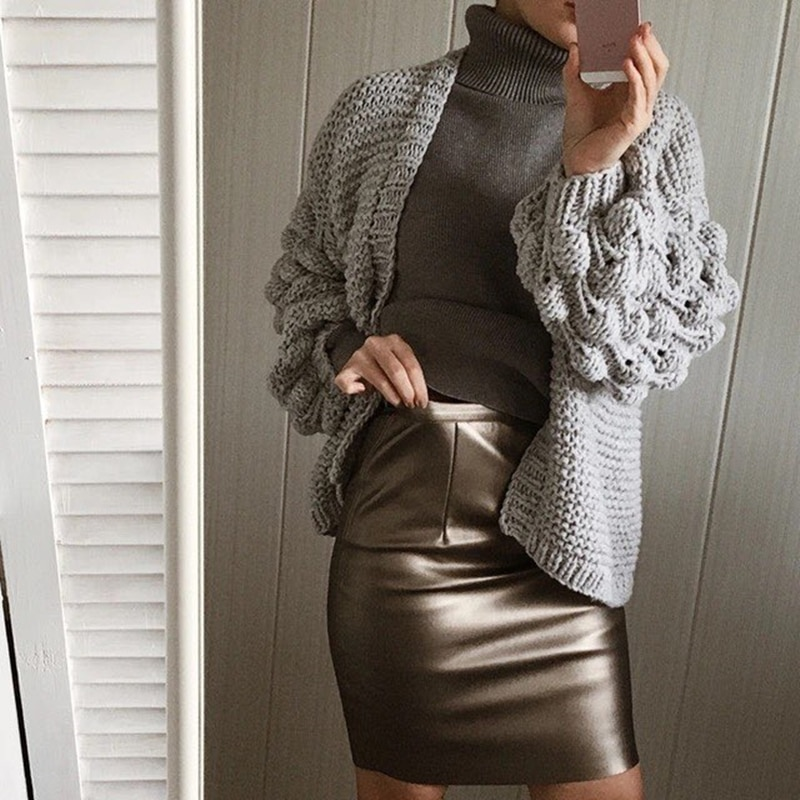 Neophil 19 Winter Sexy Faux Fur Leather Pu High Waist Midi Women Pencil Skirts XXL Office Bodycon Short Girls Tutu Saia S08019 2