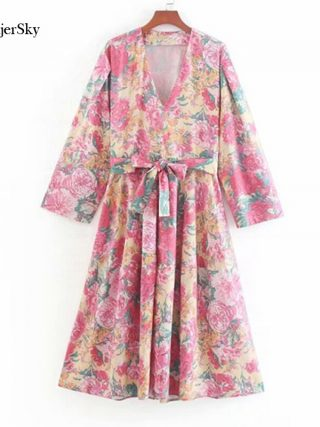 SheMujerSky Summer Women Bohemian Midi Dress With Belt 19 Floral Print V-neck Half Sleeve Boho Dresses