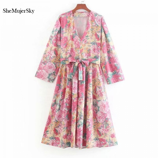 SheMujerSky Summer Women Bohemian Midi Dress With Belt 19 Floral Print V-neck Half Sleeve Boho Dresses
