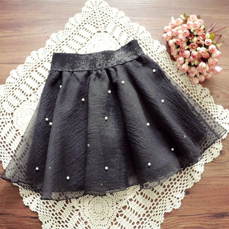 Fashion Women's Skirt Beads High Waist Skirt Pleated Floral Short Mini Skirt Skater Women Knee-Length Skirts 2