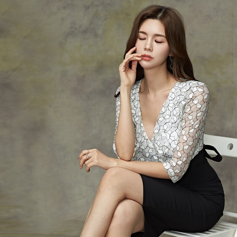 CINESSD false 2 Pieces Suits Dress For Women hollow out Half sleeve Deep v neck formal spring autumn female Office midi Dress 3