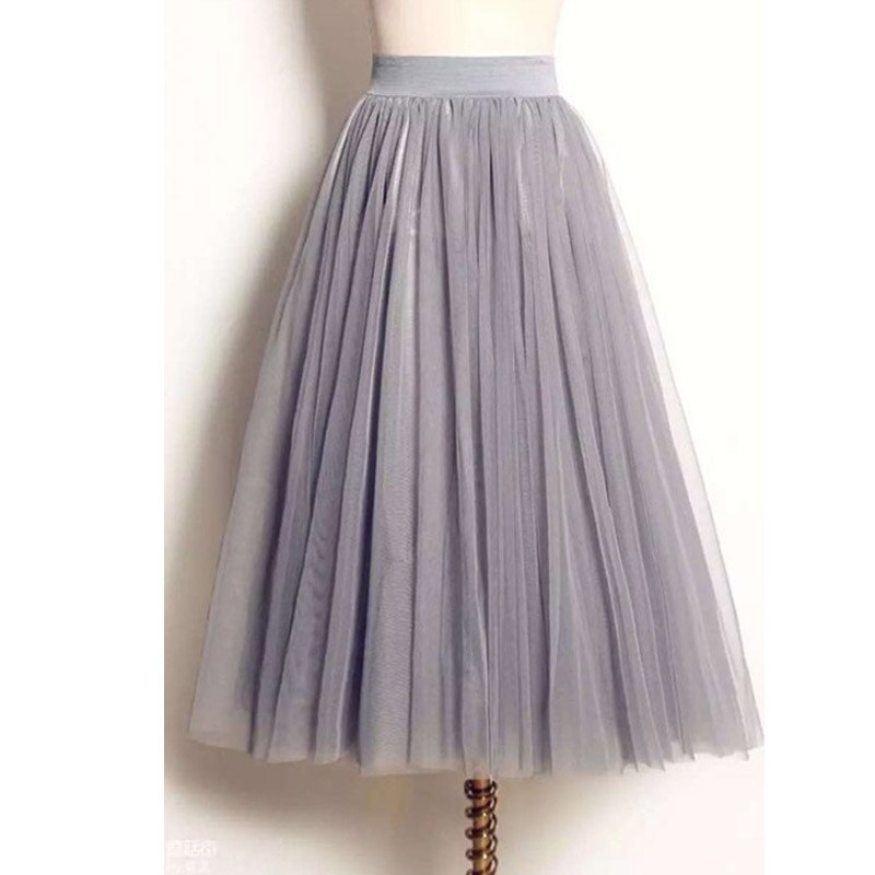 UWBACK Women Skirt 18 Summer Long Maxi Mesh Skirt Tulle Skirts Women's Full Skirt Tutu 3 Colors Mujer Falda KB1040
