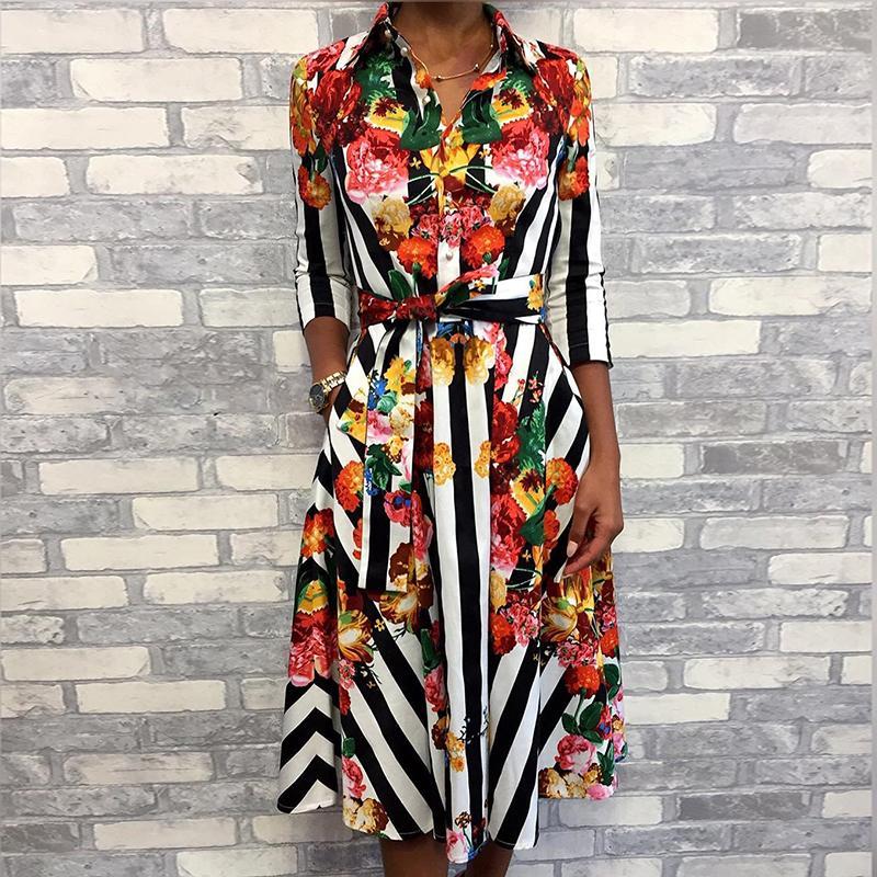 19 Women Summer Elegant OL Workwear Formal Gown Midi Party Dress Stylish Floral & Striped Print Half Sleeve Shirt Dress 1