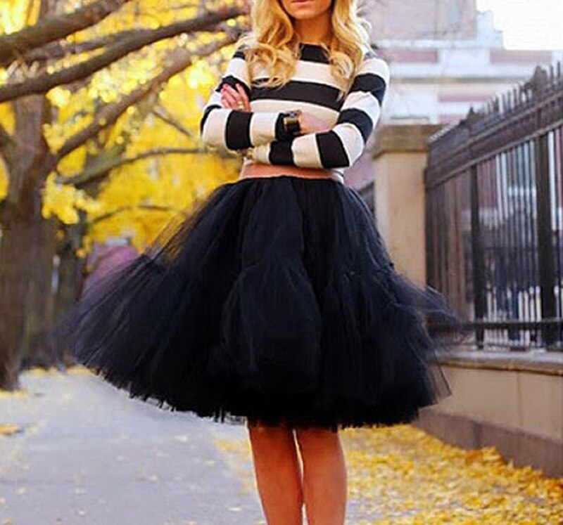 Fashion 5 Layer New 16 Tulle Skirts winter Mini skirt Women Fashion Party Design formal Skirts 2