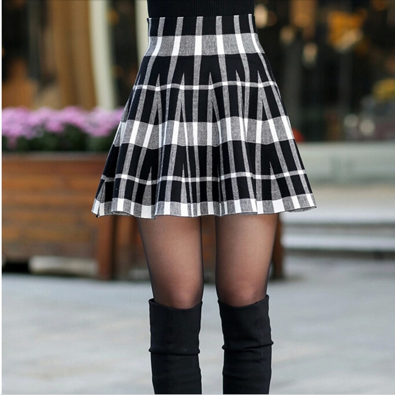 Spring Skirts Women's 18 Autumn New Design Fashion High Waist Short Mini Pleated Wool Plaid Women's Skirts 2