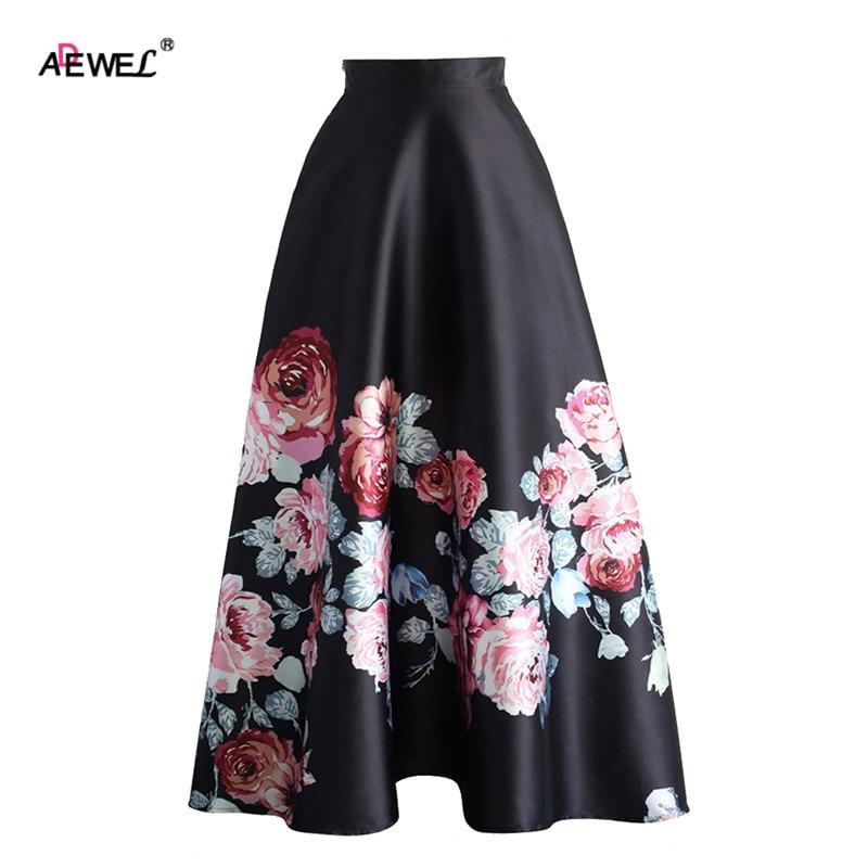 ADEWEL Summer Vintage High Waist Women A Line Skirts Elegant Floral Ptinted Casual Skirt Fashion Color Block Maxi Skirt Black 2
