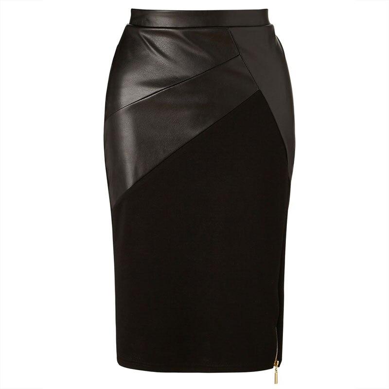 Skirt Leather Patchwork Midi Skirt Eliacher Brand Plus Size Women Clothing Chic Sexy Women Pencil Skirt 2