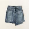 High Waist Eyelet Asymmetric Mini Denim Skirt Women Casual Novelty High Street Style Hollow Out Jeans Skirt Blue Light Wash