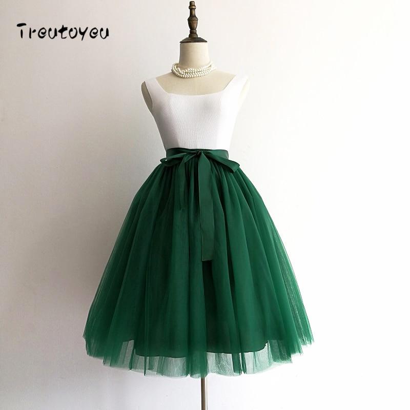 5 Layers 65cm Black Pleated skirt Sexy Midi Tulle skirt High Waist Full Lining Adult Tutu Korean Style Women