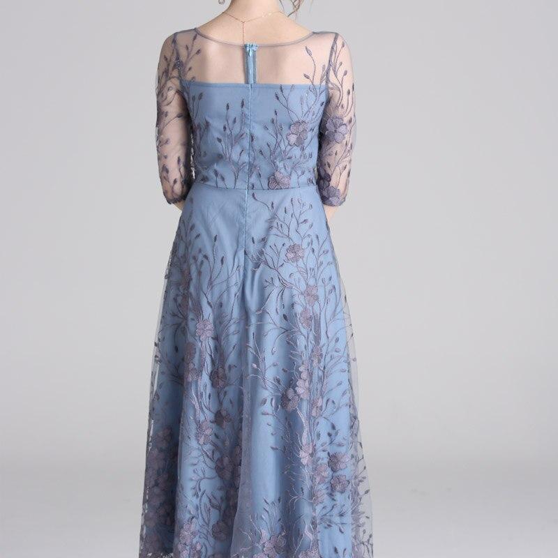 Spring Mesh Patchwork Embroidery Women Dress O Neck Half Sleeve Maxi High Quality Elegant Luxury Dresses Ladies robe longue 2
