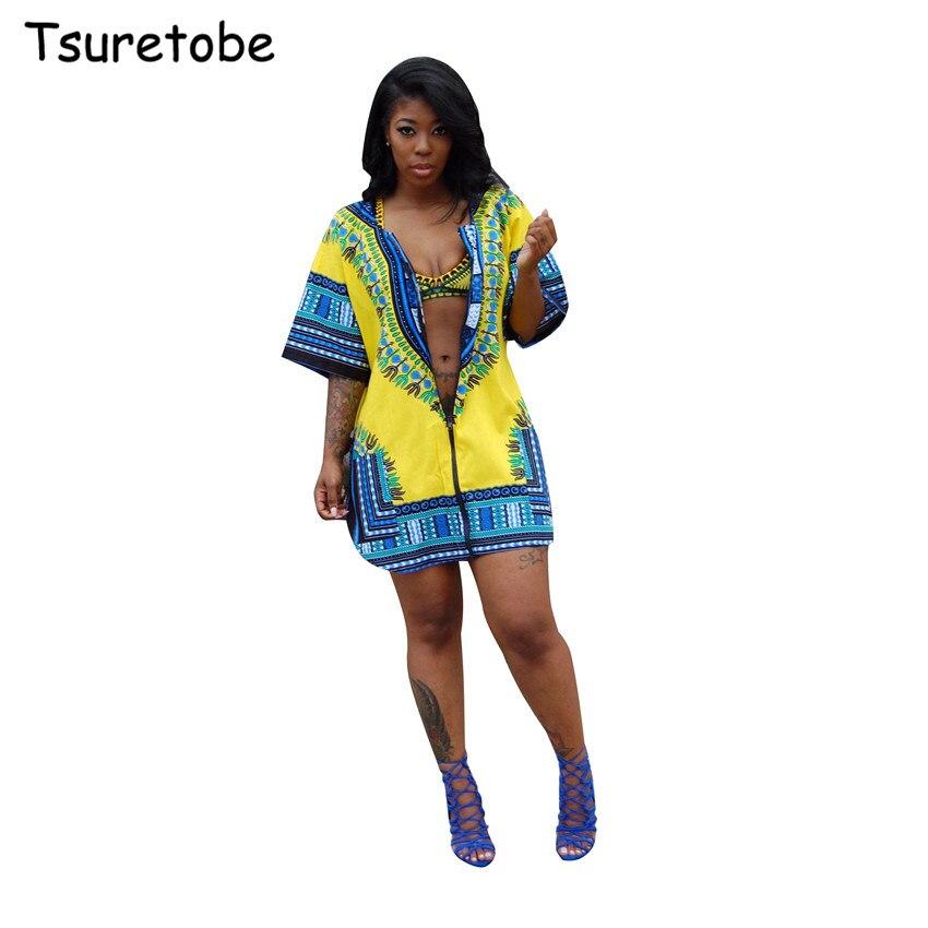 Tsuretode Summer African Print Cardigan Plus Size Dress Women Loose Casual Split Beach Dress Half Sleeve Shirt Vintage Dress