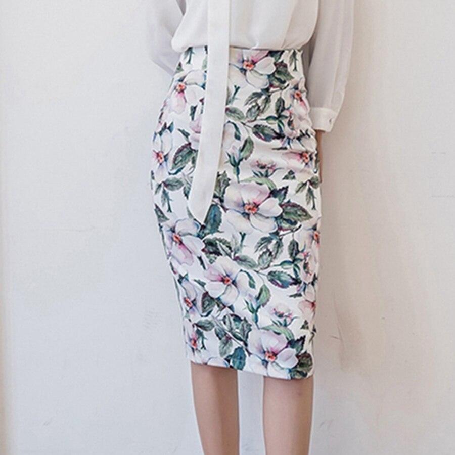 S-5XL Spring Summer Vintage Skirts Women High Waist Slim Novelty Print Fashion Lady Bandage Pencil Skirt Saias Plus Size 2