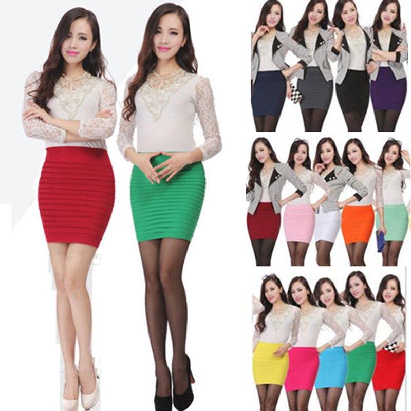 100% New 15 Colors Summer Lady Short Mini Jupe Bandage Slim Bodycon Fashion Skirts High Waist Elastic Pleated Hip Short Skirt 3