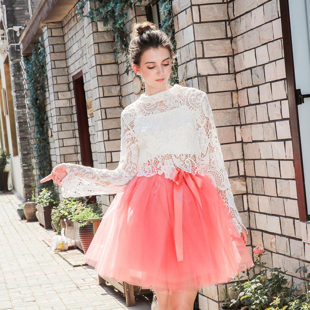 Skirts Womens 7 Layers Midi Tulle Skirt Fashion Tutu Skirts Women Ball Gown Party Petticoat 19 Lolita Faldas Saia 2