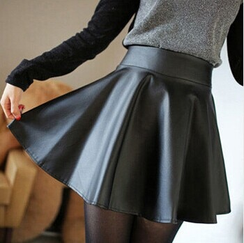 19 New spring and summer fashion style Korean retro Black PU Leather skirt pleated faux leather skirt Drop shipping 1