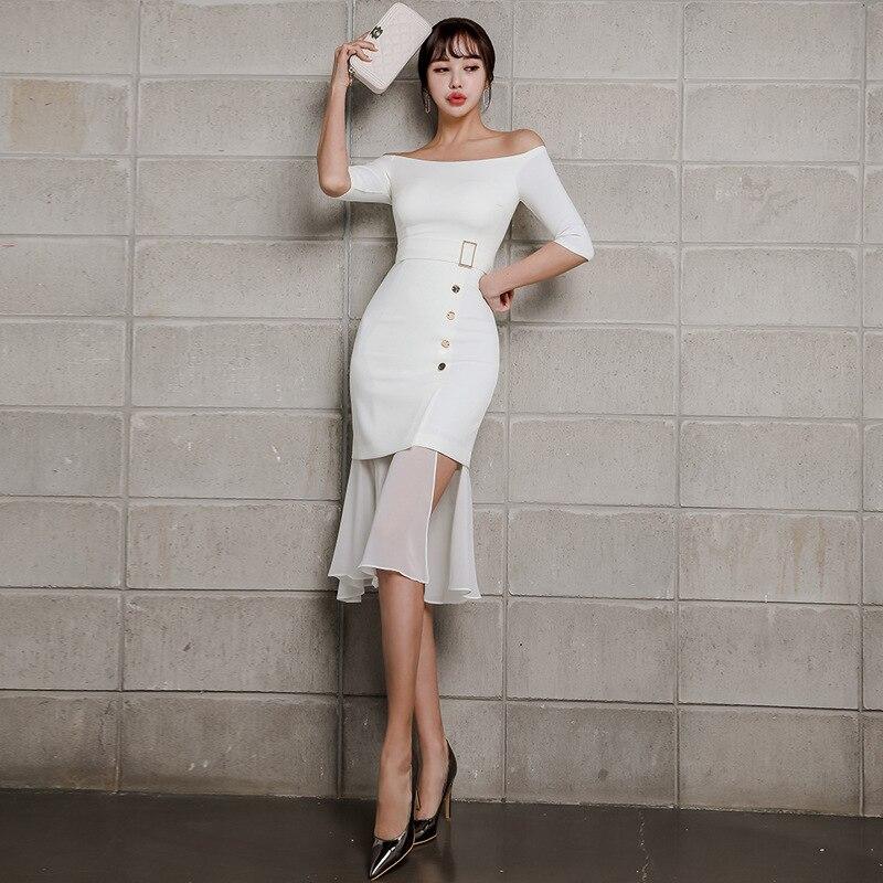 Summer Women Mermaid Dress 19 Plus Size White Half Sleeve Slash Neck Button Vintage Elegant Dress Chiffon Midi Dresses Elbise 1