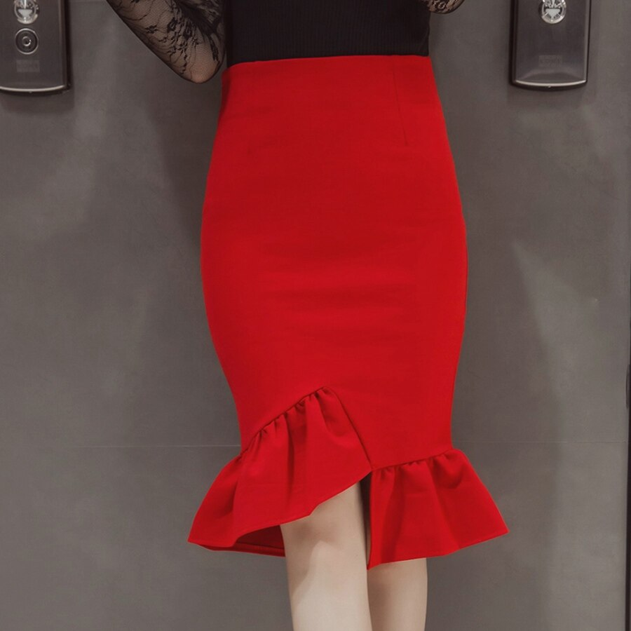 Womens Work Pencil Skirt Knee Length 19 Summer Sexy Elegant Ladies Plus Size Slim Formal Office Bodycon Printed Party Skirts 3