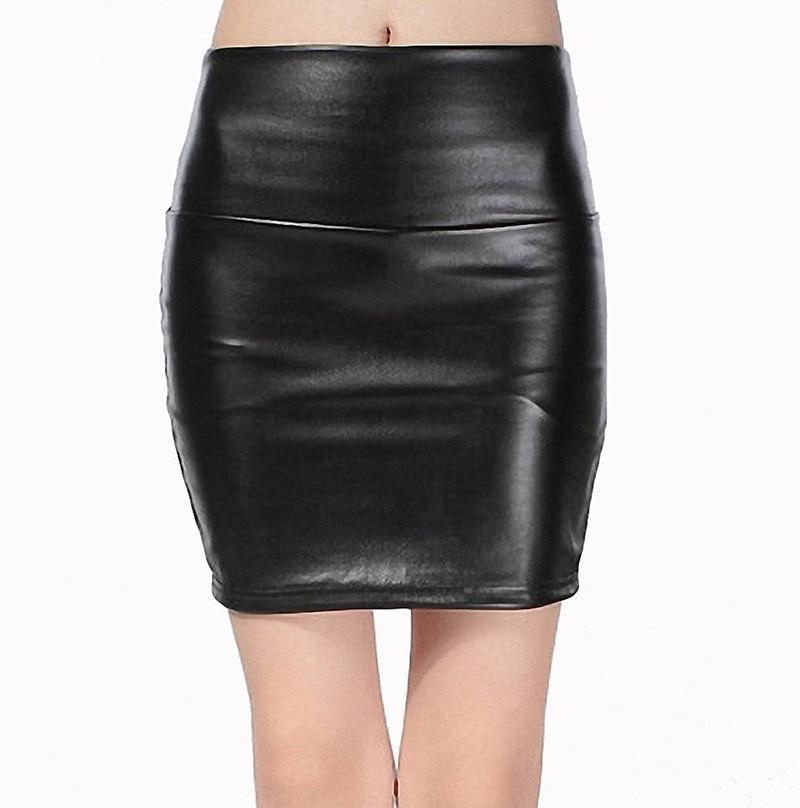 19 New fashion Women faux pu Leather skirt high waist party clothing female short pencil woman skirts saias femininas 1